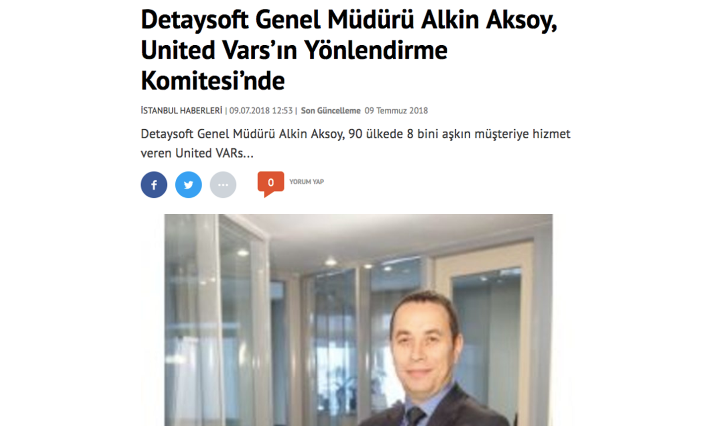 Detaysoft General Manager Alkin Aksoy joins the Steering Committee of United VARs