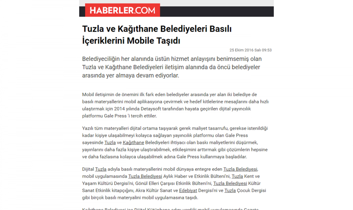 Municipalities of Tuzla and Kağıthane Move Their Printed Content to Mobile